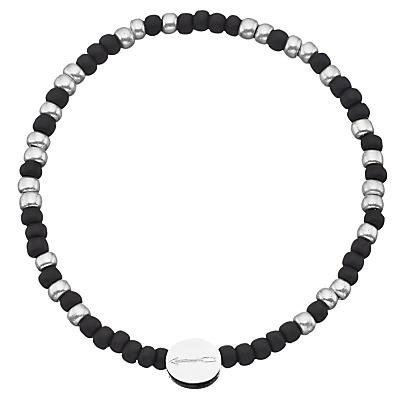 Under the Rose Morse Code 'Always' Bead Bracelet, Black/Silver