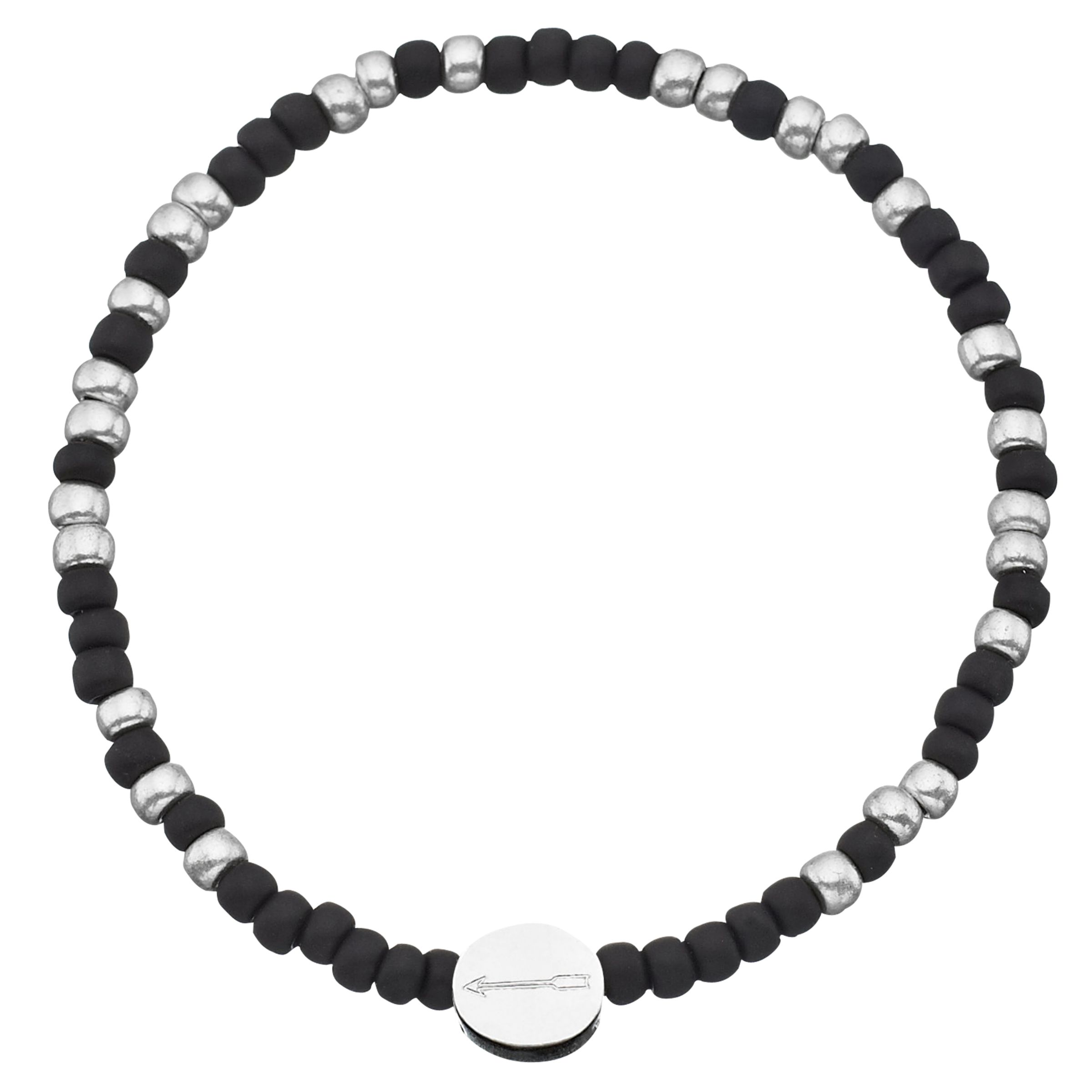 Under The Rose Under the Rose Morse Code 'Always' Bead Bracelet, Black/Silver