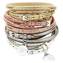 Buy Under the Rose Personalised Metallic Leather Wrap Bracelet, Graphite Online at johnlewis.com