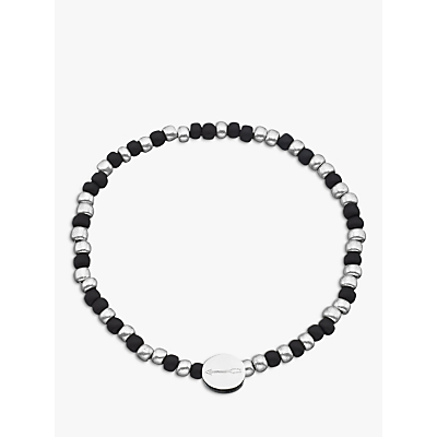 Under the Rose Morse Code 'Love you' Bead Bracelet, Black/Silver