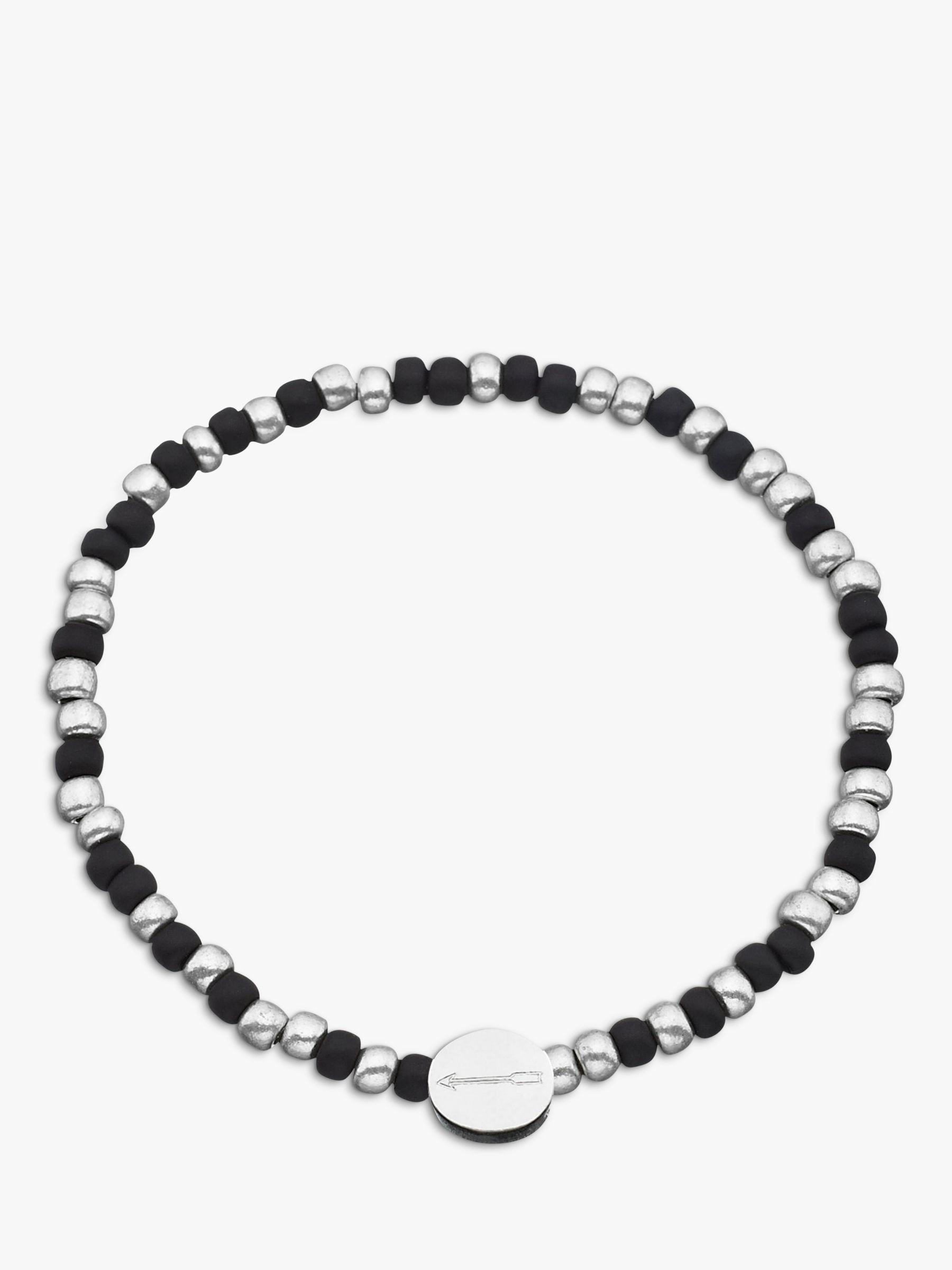 Under The Rose Under the Rose Morse Code 'Love you' Bead Bracelet, Black/Silver