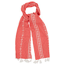 Buy Oasis Embroidered Tassel Scarf, Mid Pink Online at johnlewis.com