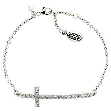 Buy Cachet Long Cross Swarovski Crystal Chain Bracelet, Silver Online at johnlewis.com