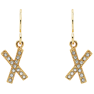 Cachet Cross Swarovski Crystal Drop Earrings, Gold
