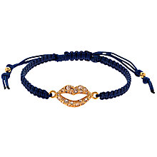 Buy Cachet Swarovski Crystal Lips Friendship Bracelet, Navy/Gold Online at johnlewis.com