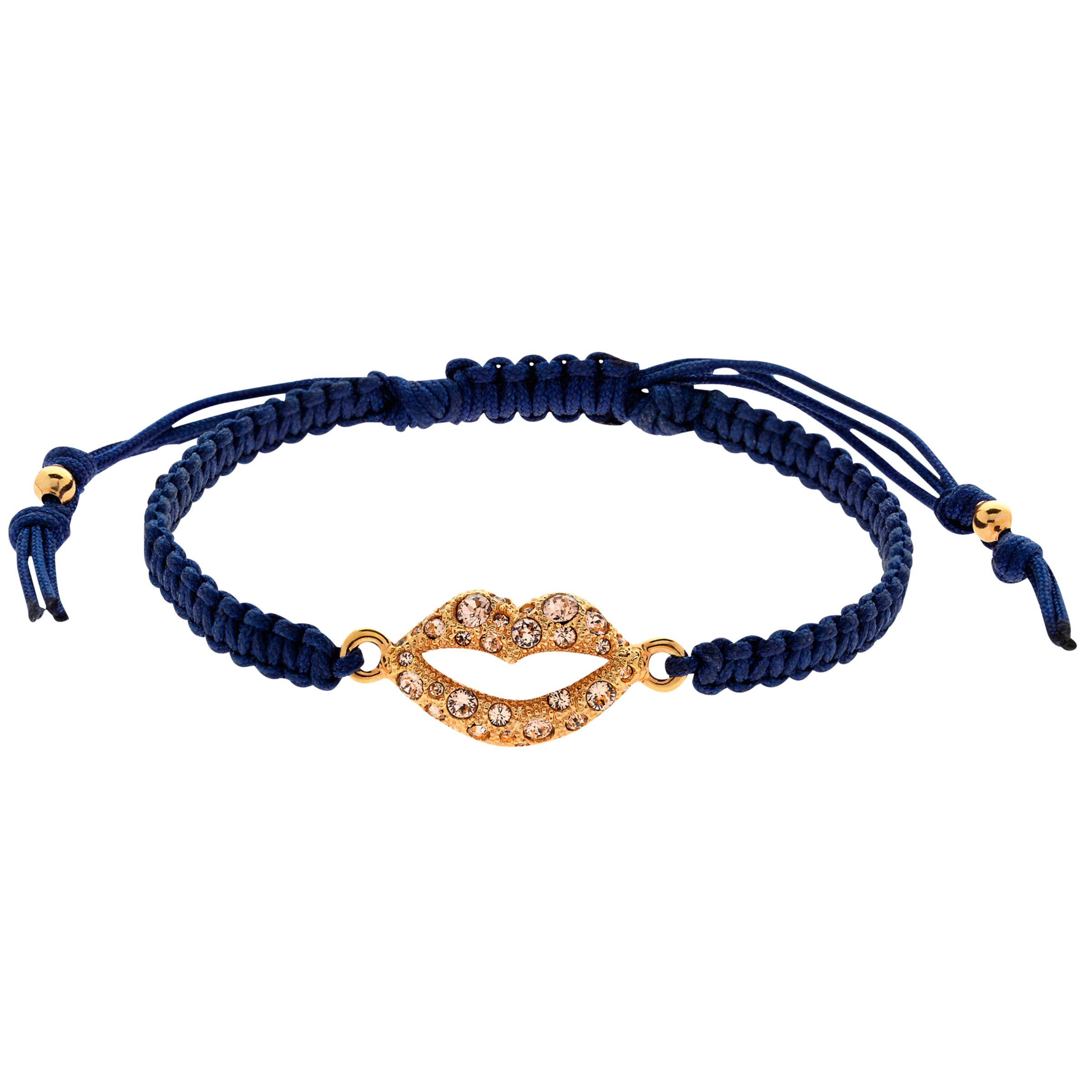 Cachet Cachet Swarovski Crystal Lips Friendship Bracelet, Navy/Gold