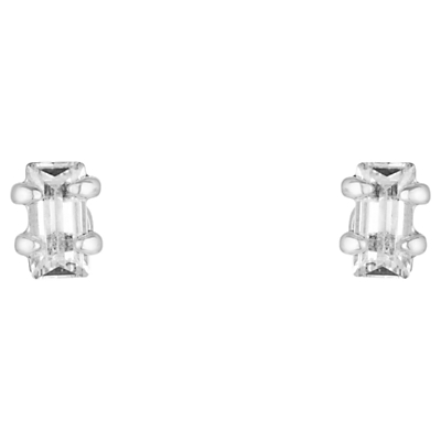 Estella Bartlett Baguette Stud Earrings, Silver