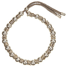 Buy John Lewis Bead and Ring Cord Bracelet, Grey Online at johnlewis.com