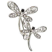 Buy John Lewis Double Dragonfly Brooch, Silver Online at johnlewis.com