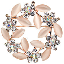 Buy John Lewis Pearlised Vintage Wreath Brooch, Clear/Blush Online at johnlewis.com