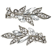 Buy John Lewis Cubic Zirconia and Glass Leaf Spring Hair Clip, Pack of 2, Silver Online at johnlewis.com