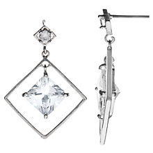 Buy John Lewis Square Glass Drop Earrings, Silver Online at johnlewis.com