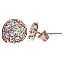 Buy John Lewis Glass Crystal Pave Round Stud Earrings, Rose Gold Online at johnlewis.com