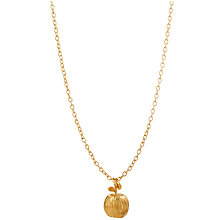 Buy Mirabelle 22ct Gold Plated Simple Long Chain Apple Pendant Necklace, Gold Online at johnlewis.com
