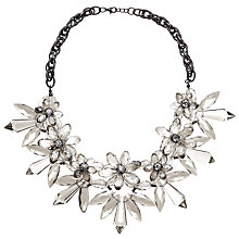 Buy John Lewis Translucent Flower Statement Necklace, Gunmetal/Clear Online at johnlewis.com