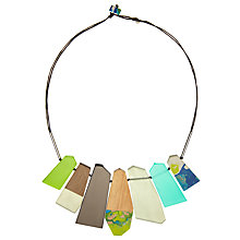 Buy One Button Graduated Flat Facets Necklace, Multi Online at johnlewis.com