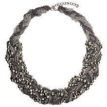 Buy John Lewis Bead Short Plait Necklace, Gunmetal Online at johnlewis.com