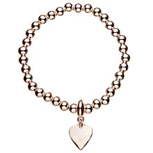 Buy John Lewis Ball Bead Heart Charm Stretch Bracelet, Gold Online at johnlewis.com