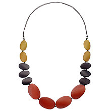 Buy One Button Long Graduating Pebble Necklace, Burnt Orange/Multi Online at johnlewis.com