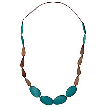Buy One Button Long 4 Large Pebbles Necklace, Turquoise/Brown Online at johnlewis.com