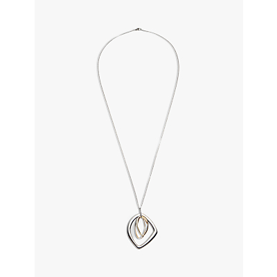John Lewis Long Trio Ring Pendant Necklace, Silver/Multi