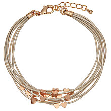 Buy John Lewis Mini Hearts Cord Bracelet, Gold/Rose Gold Online at johnlewis.com