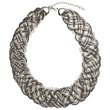 Buy John Lewis Seed Bead Plaited Necklace, Silver/Clear Online at johnlewis.com