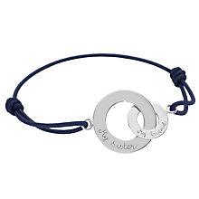 Buy Message by Merci Maman My Sister My Friend Charm Bracelet, Silver/Navy Online at johnlewis.com
