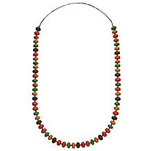 Buy One Button Long Circular Wooden Beads Necklace, Multi Online at johnlewis.com