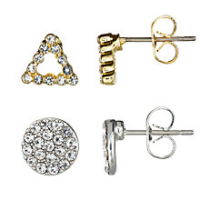 Buy John Lewis Pavé Double Back Stud Earrings, Pack of 2, Silver/Gold Online at johnlewis.com