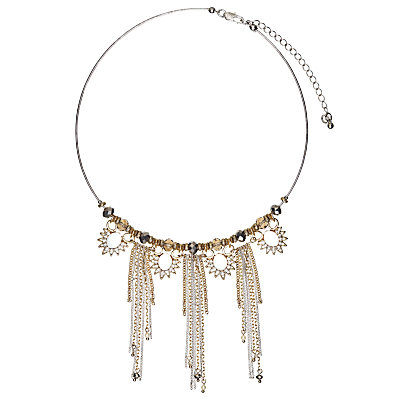 John Lewis Sparkle Tassel Collar Necklace, Gold/Multi