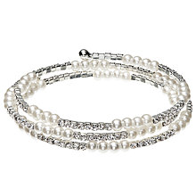Buy John Lewis Diamanté and Faux Pearl Skinny Wrap Bracelet, Silver/White Online at johnlewis.com