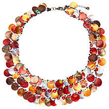 Buy One Button Medium 3 Row Layered Mother of Pearl Disc Necklace, Multi Online at johnlewis.com