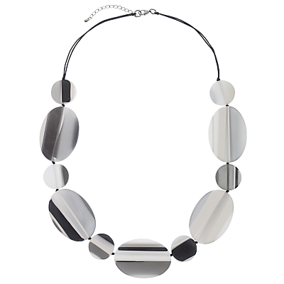 One Button Flat Striped Oval and Circle Discs Necklace, Grey/Black