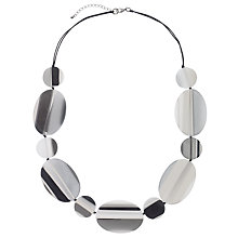 Buy One Button Flat Striped Oval and Circle Discs Necklace, Grey/Black Online at johnlewis.com