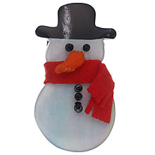 Buy One Button Snowman Brooch, White/Multi Online at johnlewis.com