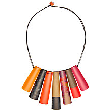 Buy One Button Short Graduated Finger Beads Necklace, Orange/Multi Online at johnlewis.com