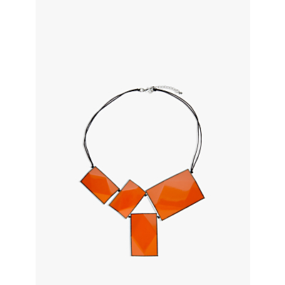 One Button 4 Large Rectangular Facets Necklace, Orange