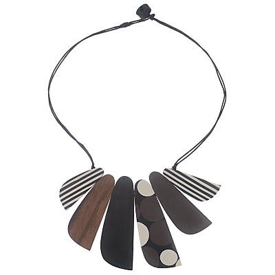 One Button 6 Mixed Flat Facets Necklace, Multi