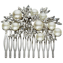 Buy John Lewis Large Faux Pearl Glass Leaf Slide, Silver/White Online at johnlewis.com