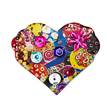 Buy One Button Resin Heart Sequin Brooch, Multi Online at johnlewis.com