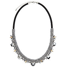 Buy John Lewis Metallic Bead And Gem Short Necklace, Silver/Black Online at johnlewis.com