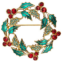Buy John Lewis Christmas Wreath Brooch, Multi Online at johnlewis.com