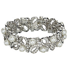Buy John Lewis Faux Pearl and  Diamante Stretch Bracelet, Silver/White Online at johnlewis.com