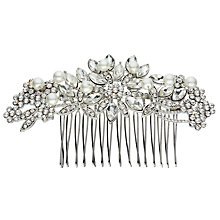 Buy John Lewis Faux Pearl and Cubic Zirconia Flower Slide, Silver Online at johnlewis.com