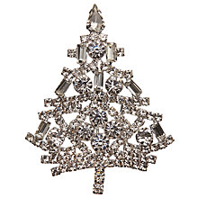Buy John Lewis Glass Stone Christmas Tree Brooch, Silver Online at johnlewis.com