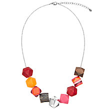 Buy One Button Multi Faceted Medium Beads Necklace, Red/Multi Online at johnlewis.com
