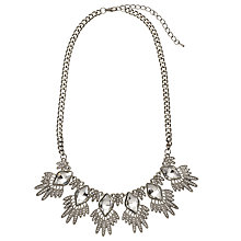 Buy John Lewis Cubic Zirconia and Glass Fan Necklace, Silver Online at johnlewis.com