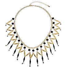 Buy John Lewis Beaded Fan Statement Necklace, Gold/Black Online at johnlewis.com
