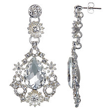 Buy John Lewis Large Glass Crystal Teardrop Earrings, Silver Online at johnlewis.com